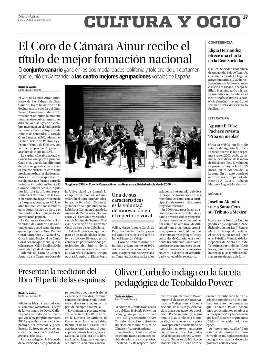 Referencia en prensa - Diario de Avisos