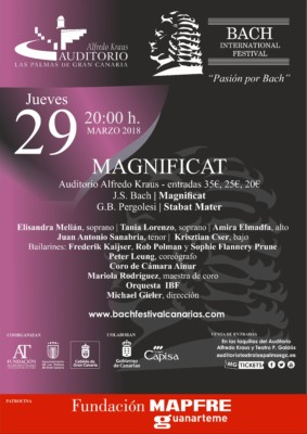 "Cartel del Concierto ""Magnificat"" en el International Bach Festival 2018"
