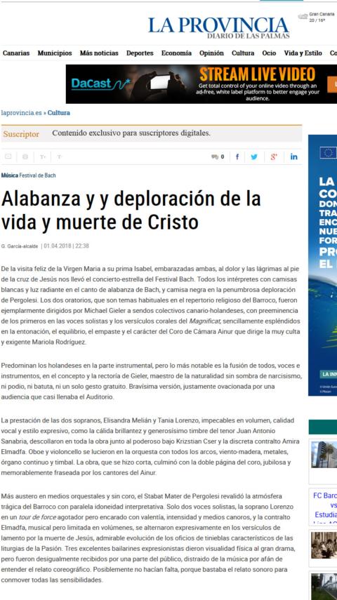 La Provincia: Alabanza y deploración de la vida y muerte de Cristo