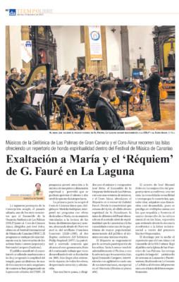 Crítica :Exaltación a María y el 'Requiem' de G. Fauré en La Laguna